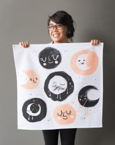 moonrise print dishtowel