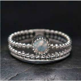 triple band moonstone ring