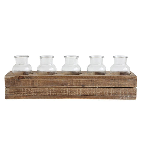 wood crate with glass bottles