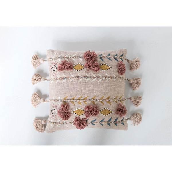 embroidered stitched rose pillow