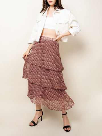 layer ruffle print skirt