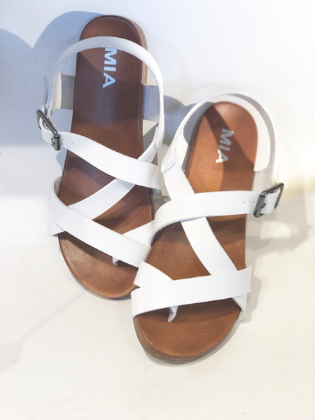 petrina white leather sandal