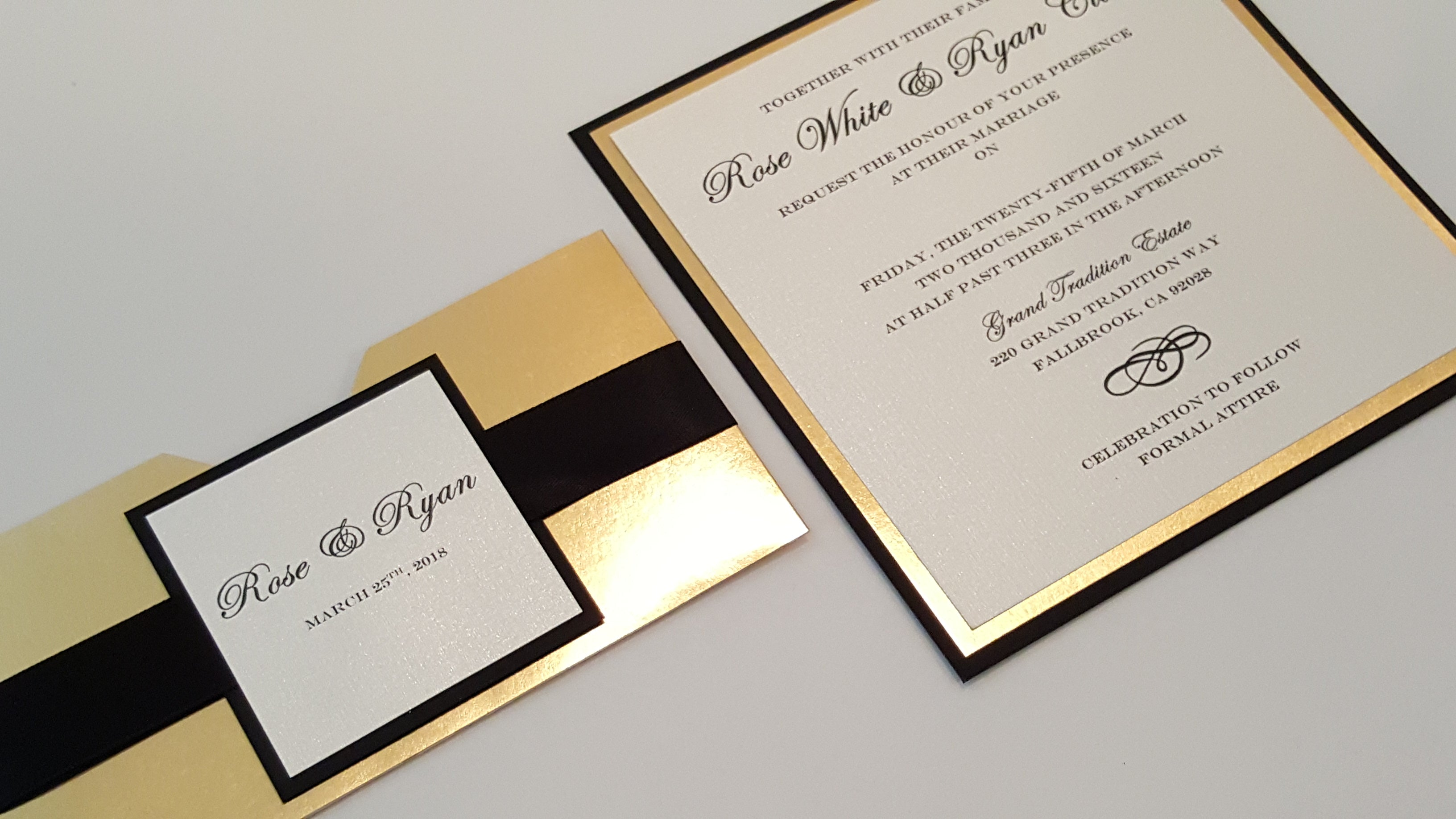 Pulled out Black and Gold Mirror Wedding Announcement