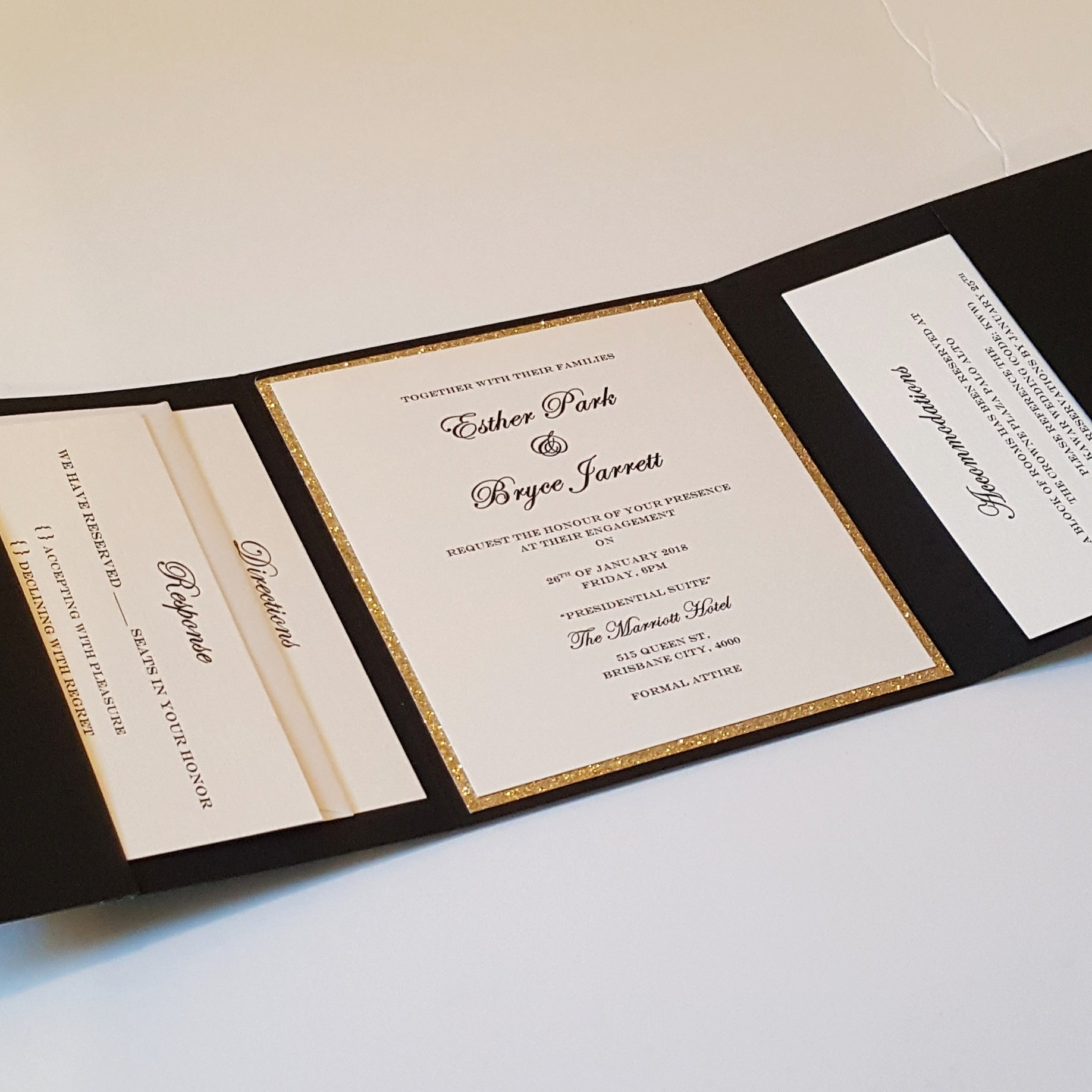 A complete Pocketfold Trifold Wedding Invitation Suite that comes with any three enclosures