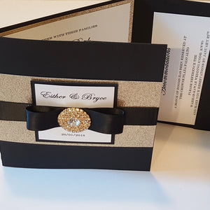 Black and Gold Glitter Wedding Invitation Suite with 3 inserts and printed envelopes