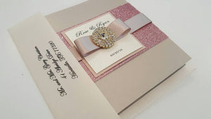 Nude/ Blush Jeweled Marriage Announcement