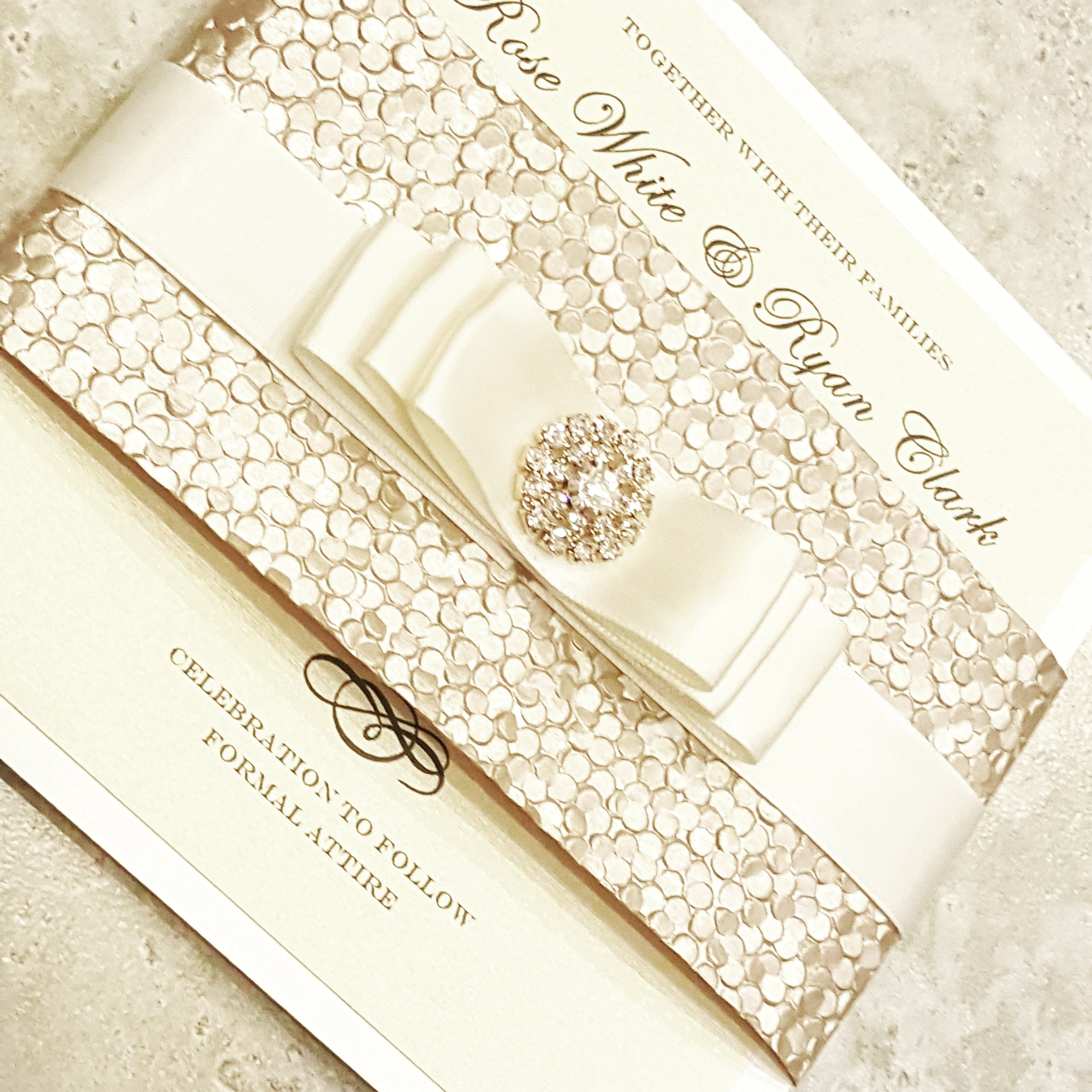 Stunning Pebbles Gold and Ivory Wedding Invitation. Champagne Wedding Card. Bilingual