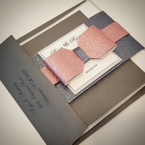 Ionized l Pink Glamorous Bow Wedding Invitation. Lovely Monogram. Stunning Sparkling invite, Bilingual