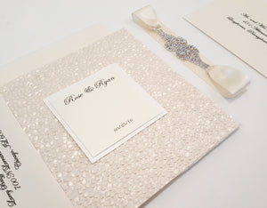 Pebbles Wedding Invitation with a Rhinestone Jewel