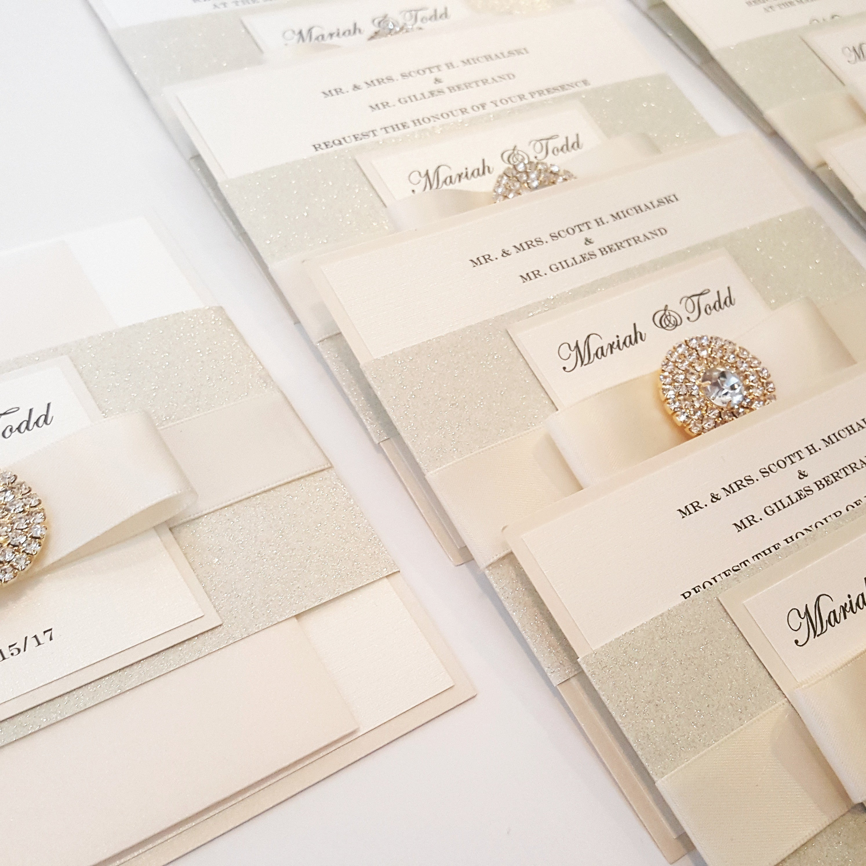 Glamorous Bling Jewel Wedding Invitation in Ivory / Gold. Stunning Sparkling invite