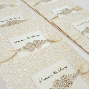 Luxury Ivory  Pebbles Wedding Invitation with  Rhinestone Connector
