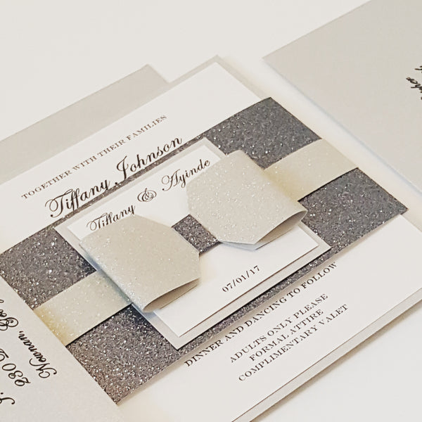 Silver l Gray Glamorous Bow Wedding Invitation. Lovely Monogram. Stunning Sparkling invite, Bilingual