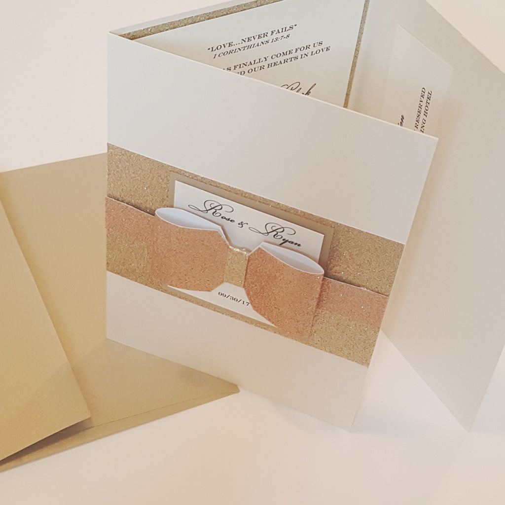 Elegant Shimmery Rose Gold Tri-fold Wedding Invitation. Includes Printed envelopes and 2 inserts