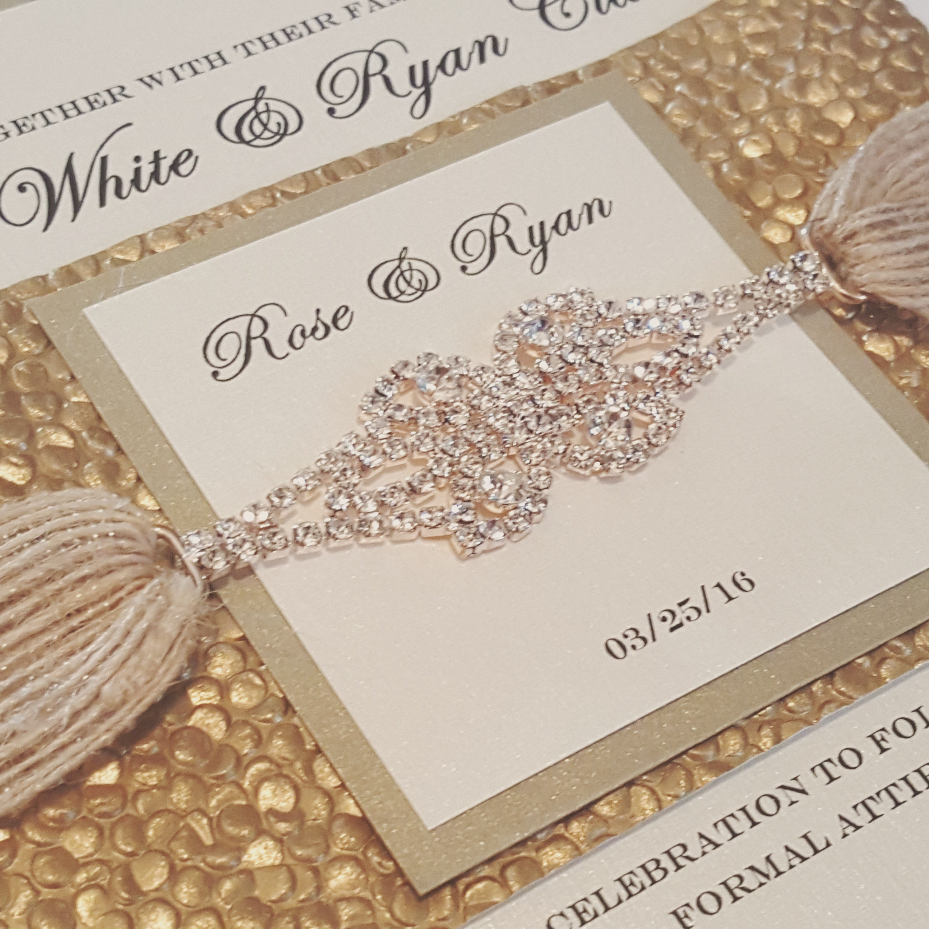 Rustic Chic Jute Ribbon with High Quality Rhinestone Connector Gold Wedding Invitation. Pebbles Wedding Card. Bilingual