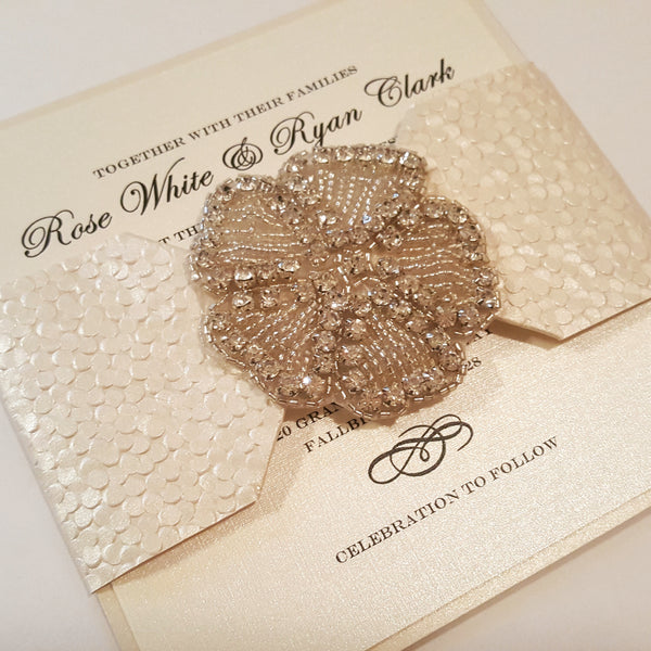 Flower Crystal Rhinestone High-end Wedding Invitation... Bilingual
