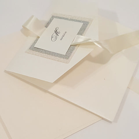 Trifold Pebbles and Glitter Pocketfold Wedding Stationary Card in Ivory/ Gold l Bilingual