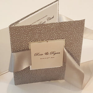 Silver Mirror Pocketfold Wedding Invitation Suite l Silver Foil l Complete Wedding Invitation Suite in Platinum.