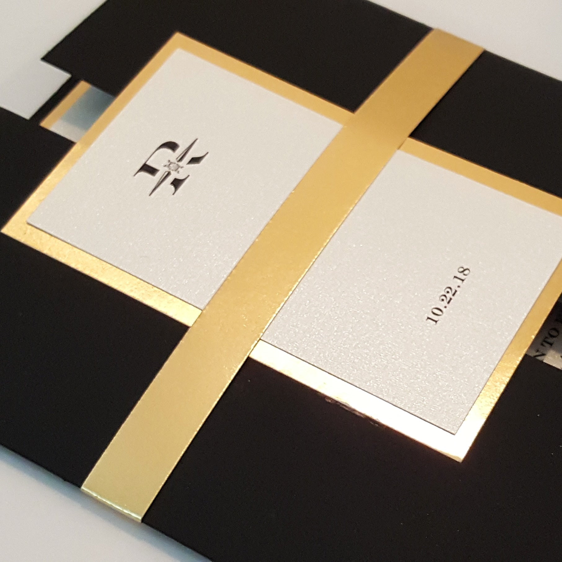 Elegant *24-k Black-Gold Gated Mirror Wedding Invitation Suite