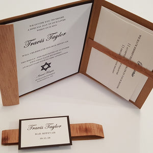 Wooden Bar Mitzvah / Bat Mitzvah Wooden Invitation / Rustic Real wood Stationary