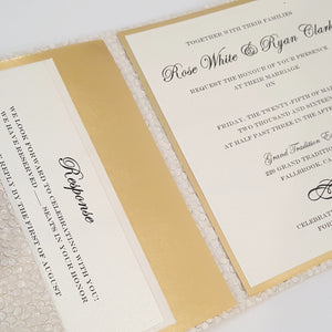 Ivory Gold Mirror Pocketfold Wedding Invitation Suite l Foil l Complete Wedding Invitation Suite in Ivory