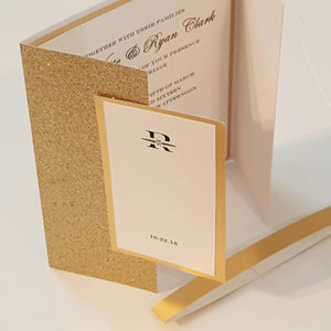 Elegant Gold Glitter Mirror Wedding Invitation Suite | Foil Wedding Card | Bilingual