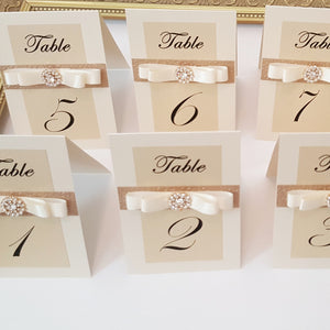 Gold l Ivory Embellished Glitter Table Numbers