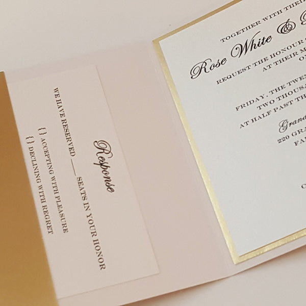 Elegant Gold Glitter Mirror Wedding Invitation Suite