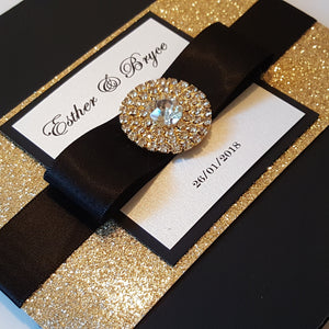Black and Gold Shimmery Wedding Invites
