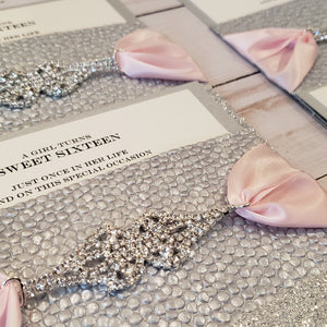 Personalized Silver Blush Rhinestone Stationery / Invitation Suite