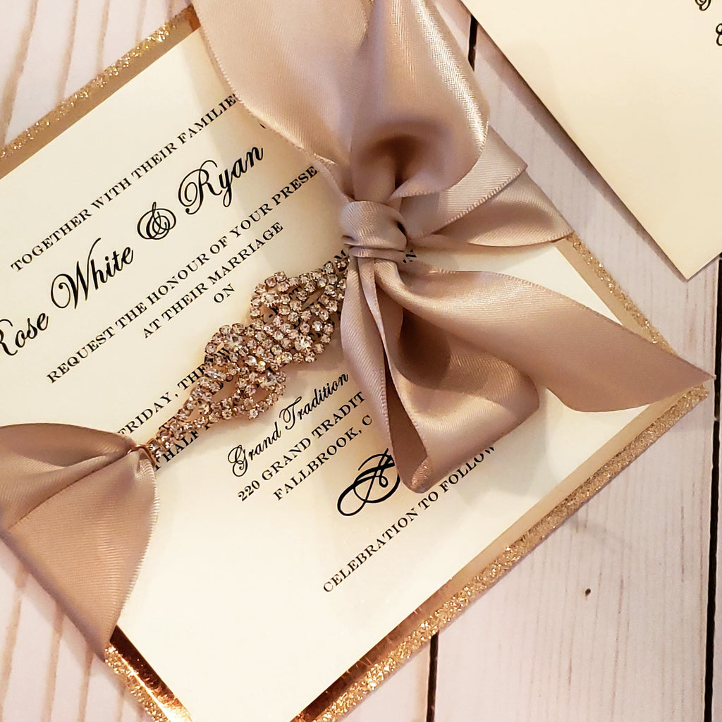 Luxury Rose Gold Rhinestone Wedding Card | Rosegold Stationary