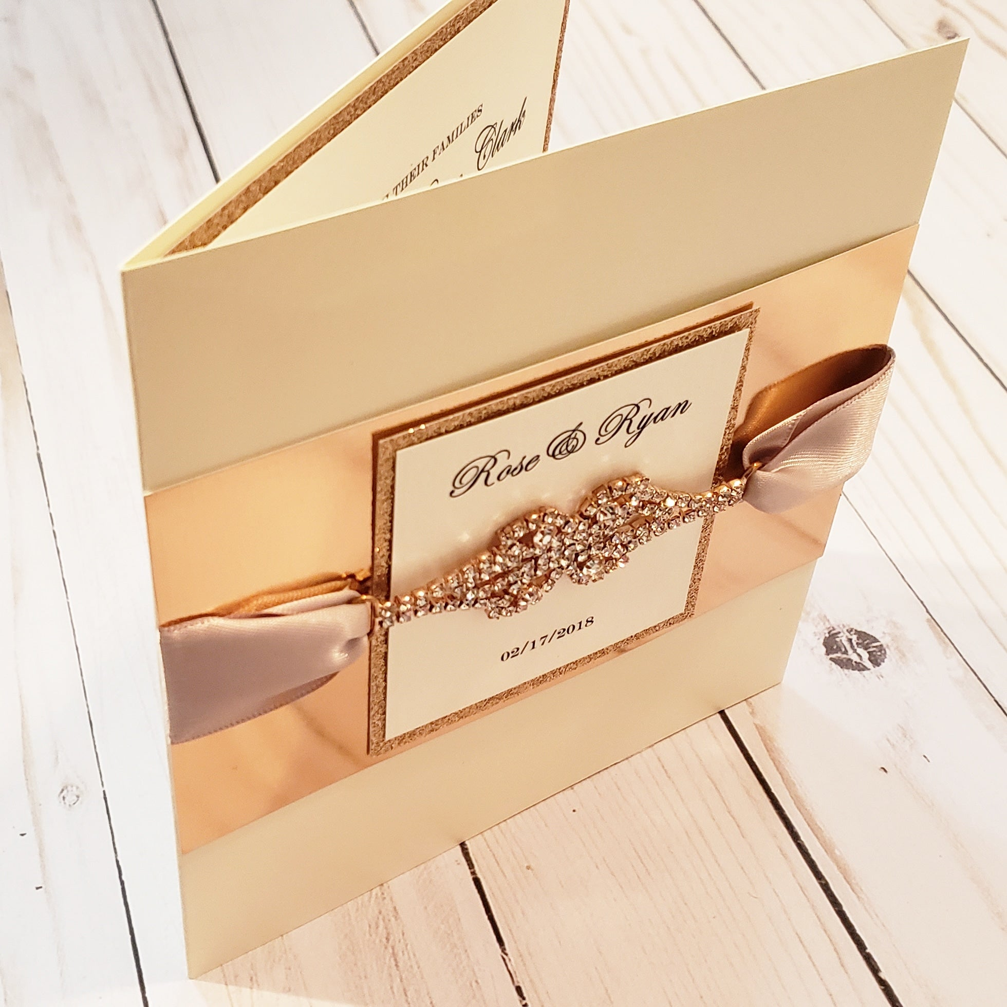 Gorgeous Designer Rose Gold Wedding Stationary Pocketfold | Rosegold Wedding Card