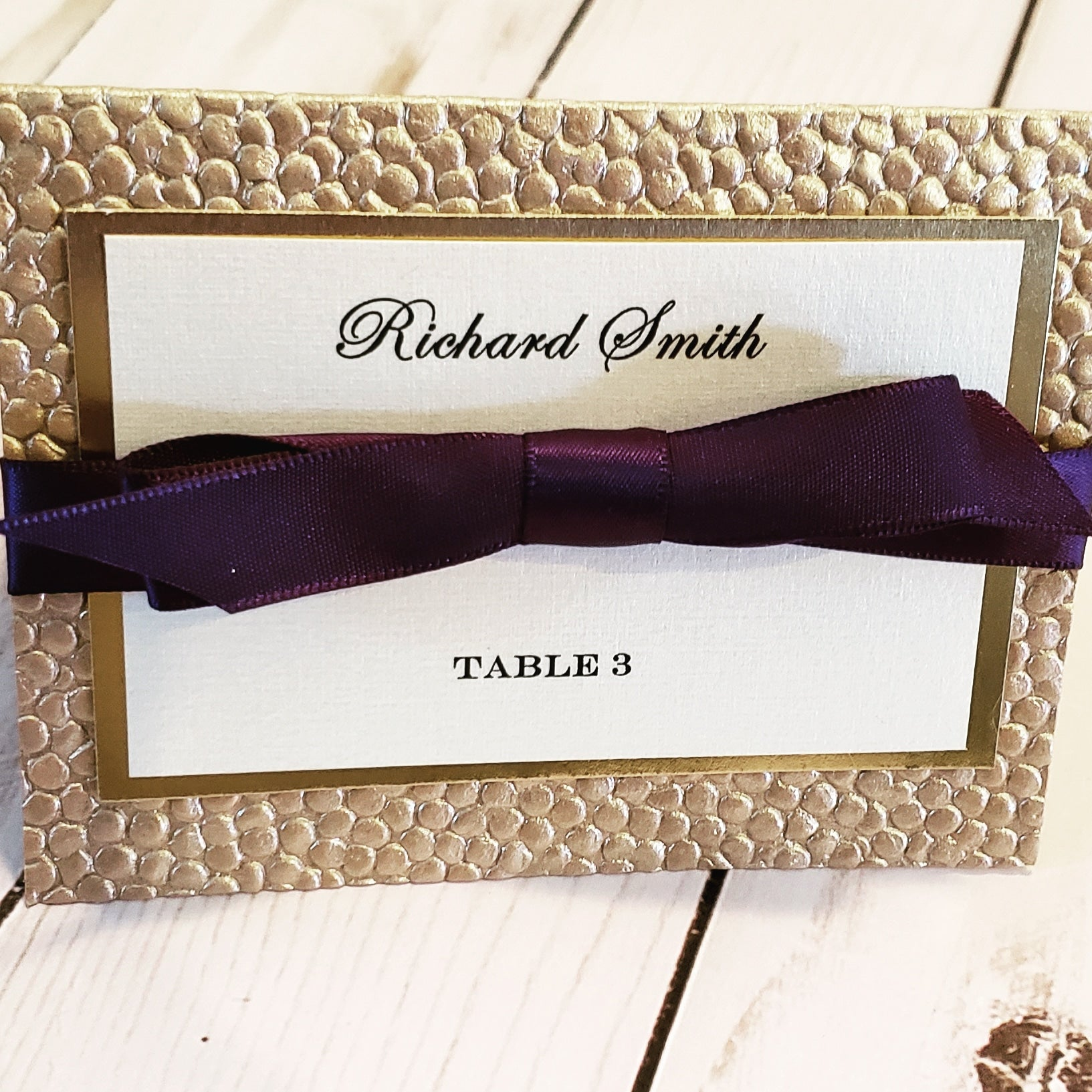 Luxury Gold Foil Eggplant Place Cards / Foil Pebbles Purple Escort Cards - Many Ribbon Colors to choose!