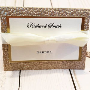 Luxury Gold Foil Champagne Ivory Place Cards / Foil Pebbles Escort Cards - Many Ribbon Colors to choose!