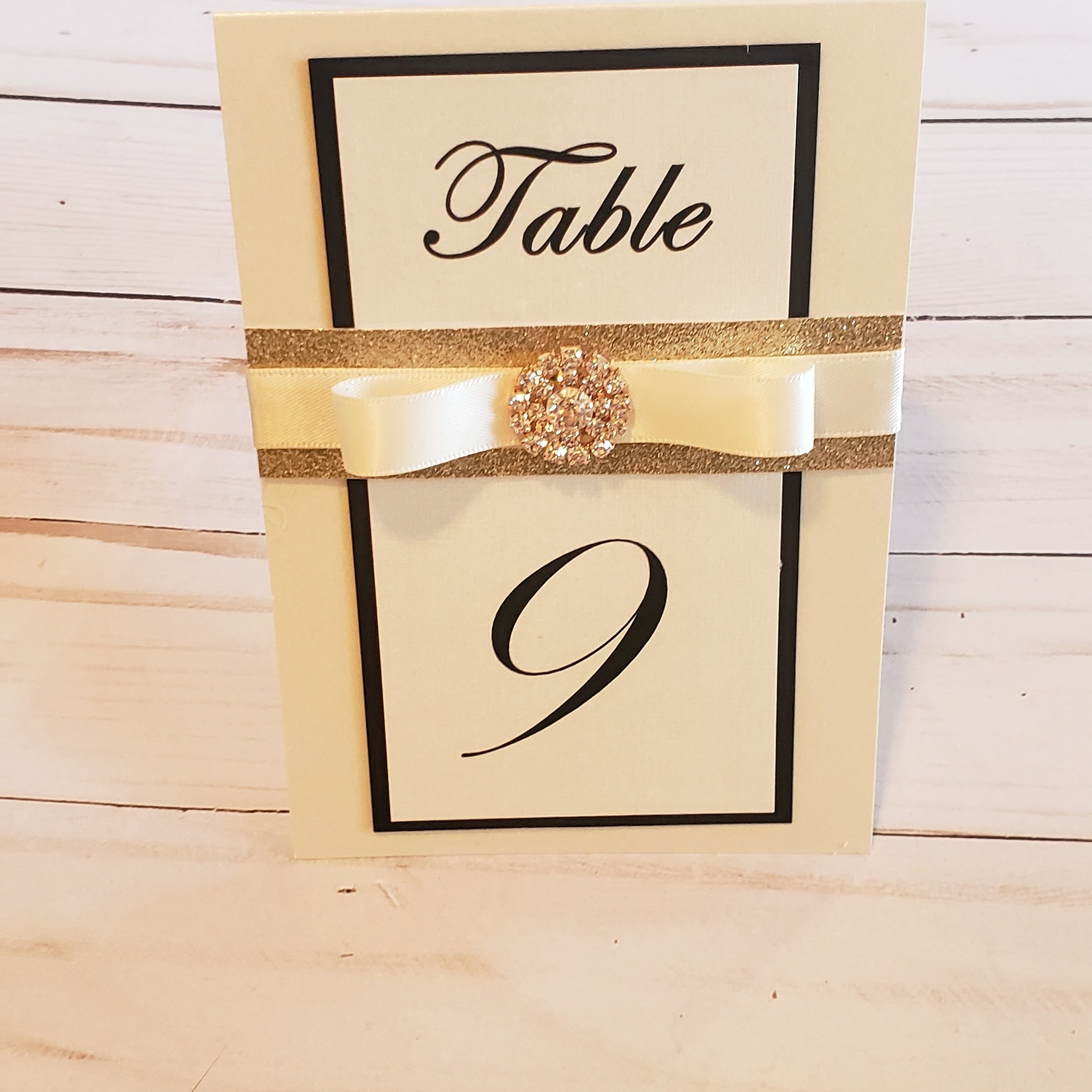 No-shed Gold Black Ivory Embellished Glitter Table Numbers