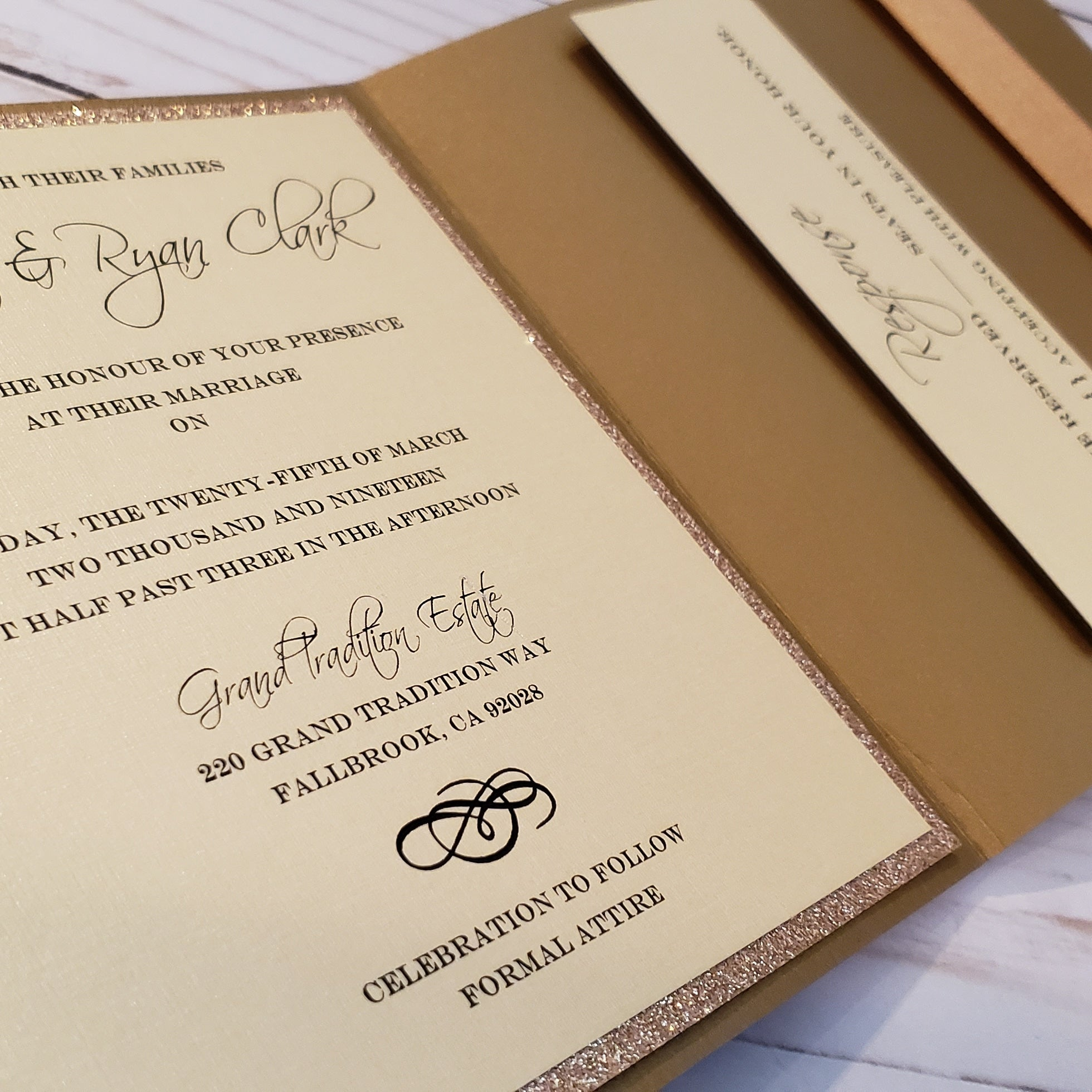 Rosegold pocket stationery