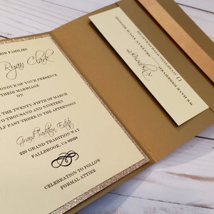 Gold Glitter Wedding Invite