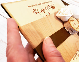 Sola Flower Real Wood Vintage Rustic Boxed Wedding Invitation with lasered sliced log- NEW and sustainable!