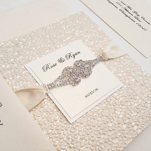 A Luxury Marriage Card with a Gorgeous Rhinestone Connector - It is a pocketfold to keep your enclosures on place. Designer Stationery shop