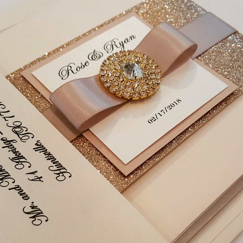 Glamorous Rose Gold Bling Jewel Wedding Invitation