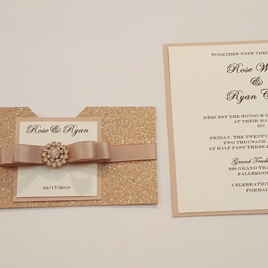 Opulent Byzantine Rose Gold Wedding Invitation Suite (SLEEVE VERSION) l Rose Gold Glitter