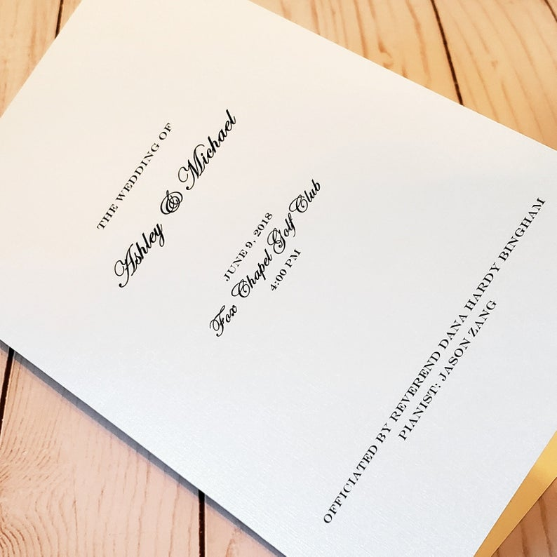 Classic Wedding Ceremony Programs. Printed in a Gorgeous linen paper -4 sided