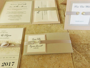 Blush Wedding Invitation Suite | Luxury monogram with two jewels | Bilingual