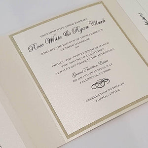 Trifold Wedding Invitation Suite with 3 inserts and printed envelopes. High end Gold Trifold Wedding Pocketfold Card. Ivory/Gold