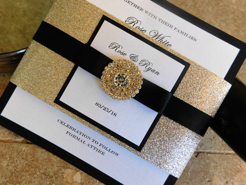 Black and Gold Wedding Invitation. Glamorous Bling Black Wedding Card. Gold Jewel Wedding Invite. 1920 wedding theme. Bilingual