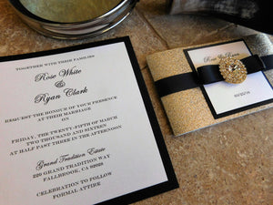 Embellished Black and Gold Wedding Invitation Suite. 1920 theme