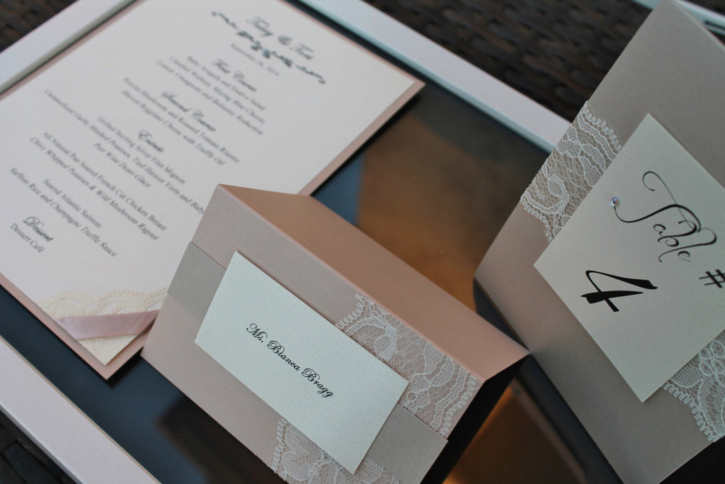 Sand and Blush  Lace Place Cards -  Set of 10