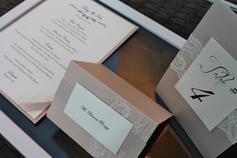 Sand and Blush  Lace Menus-  Set of 10