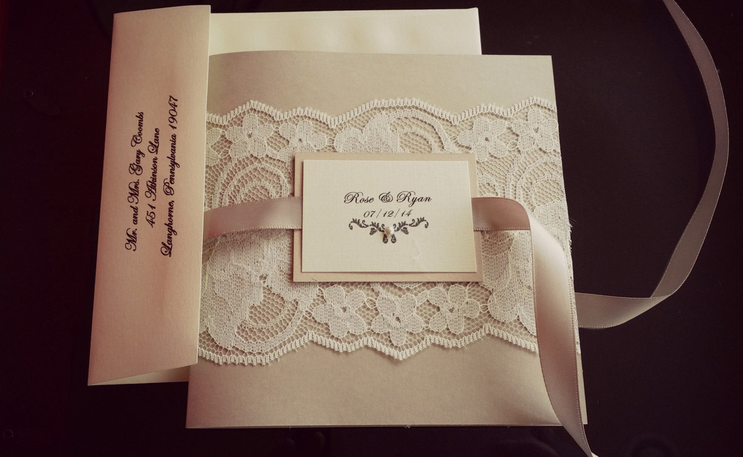 Bohemian Blush Pocket-fold Lace Wedding Invitation