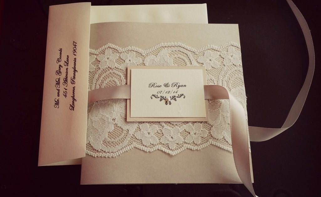 Bohemian Blush Pocket-fold Lace Wedding Invitation – Ink and Love