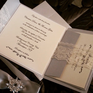 Glamorous yet Vintage  Silver Jewel and Lace Invitation